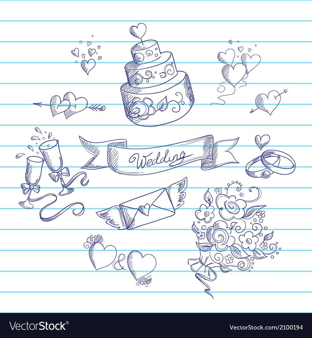 Sketch of wedding design elements vector
