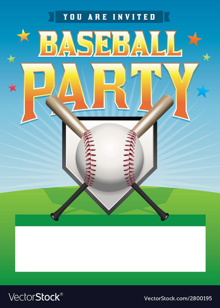 Baseball party flyer vector