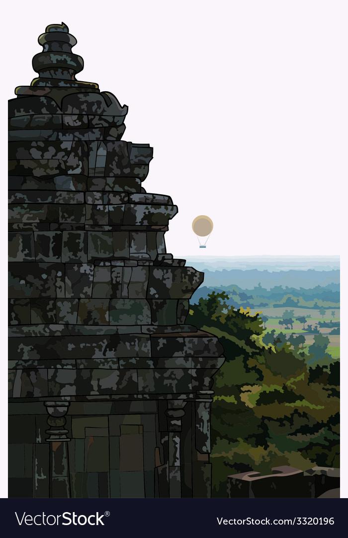 Landscape stone old buildings ankor wat cambodia vector