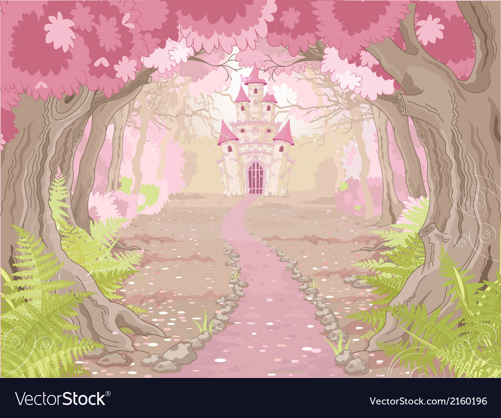 Magic castle landscape vector