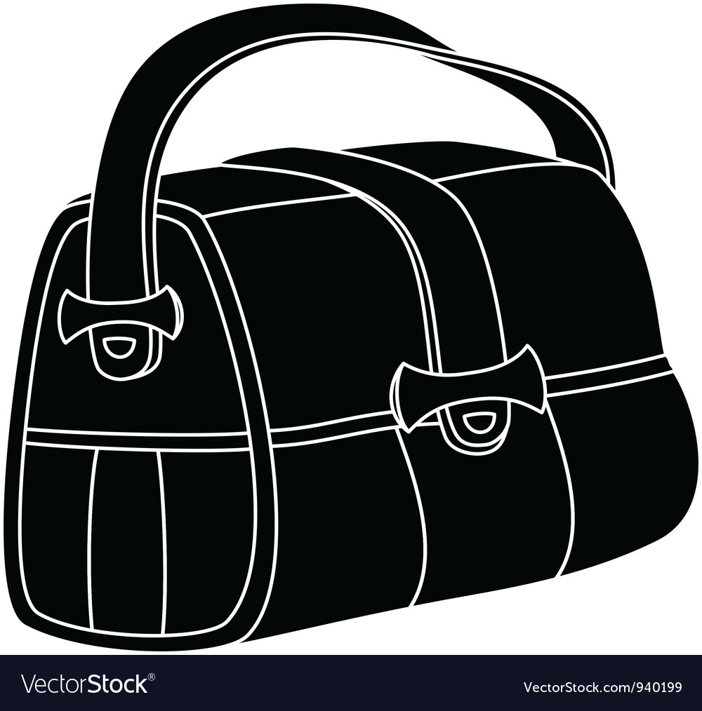Leather bag silhouette vector