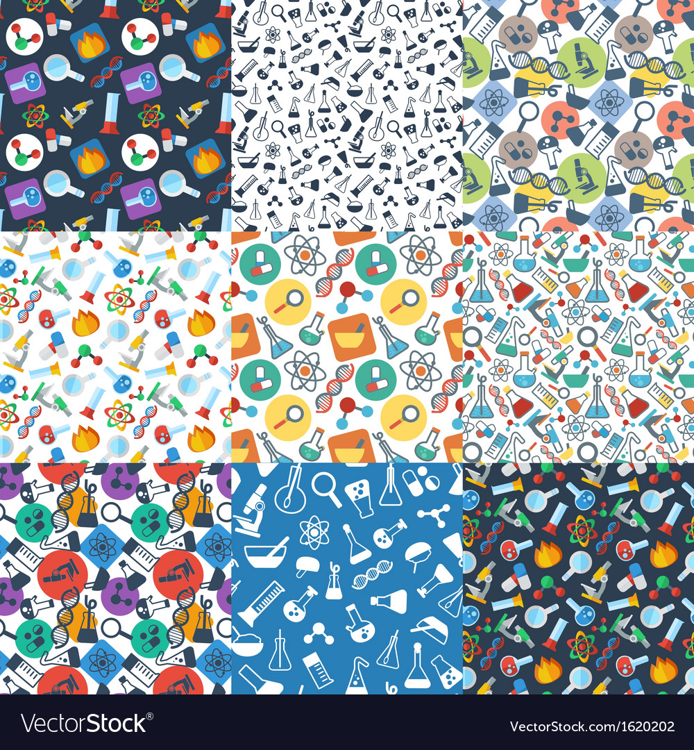 Pattern with symbols of science vector
