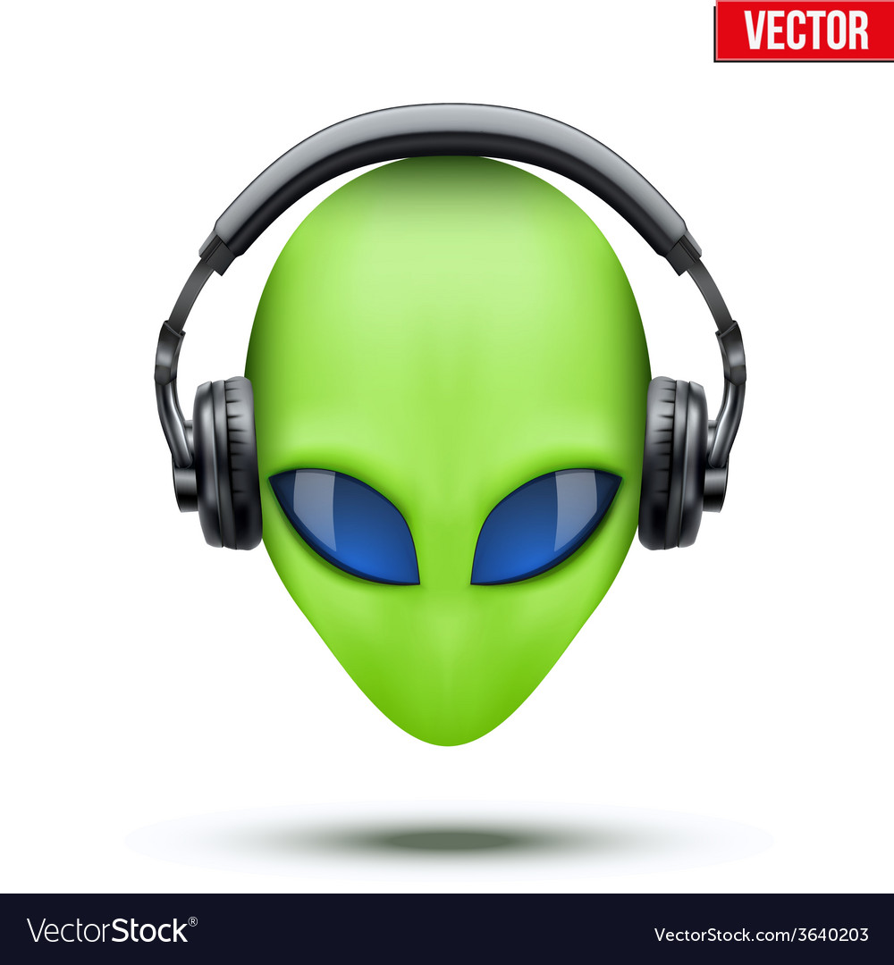 Alien head with headphones vector