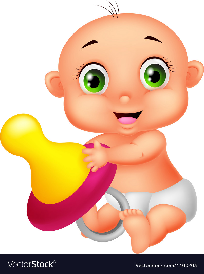 Baby holding pacifier vector