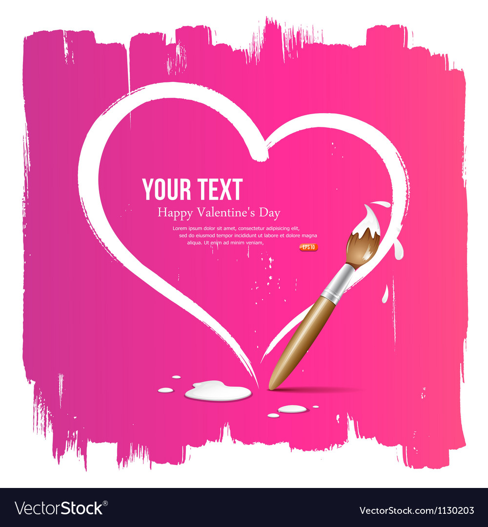 Paint brush heart shape on pink background vector