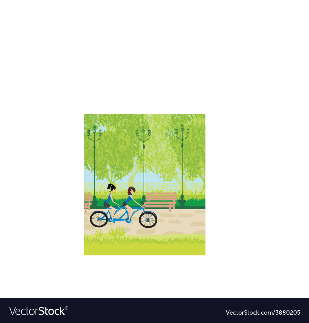 Friends biking in the park vector