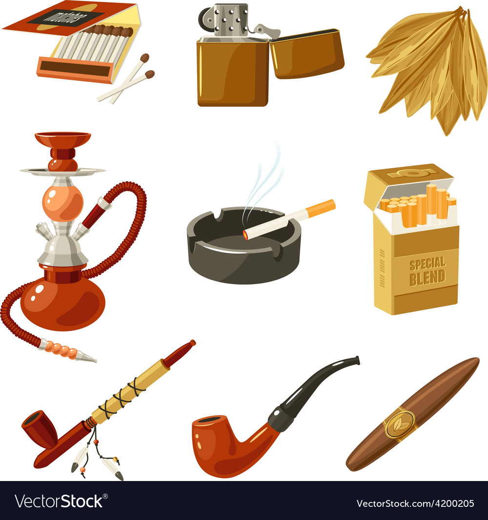 Tobacco icons set vector