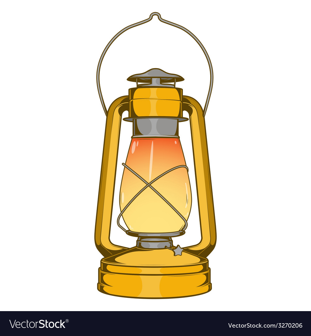 Antique brass old kerosene lamp vector