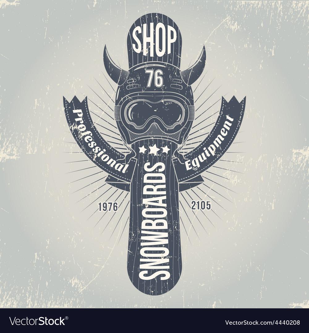 Snowboard emblem vector