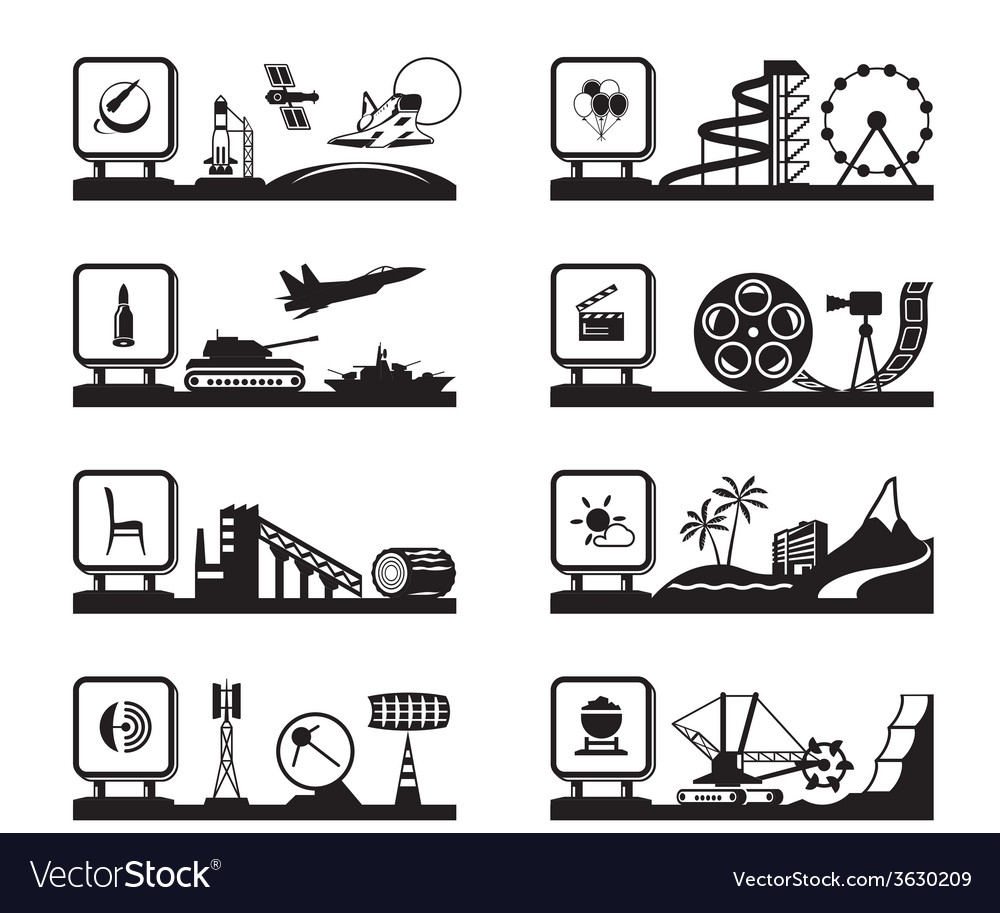 Various industries with logos vector