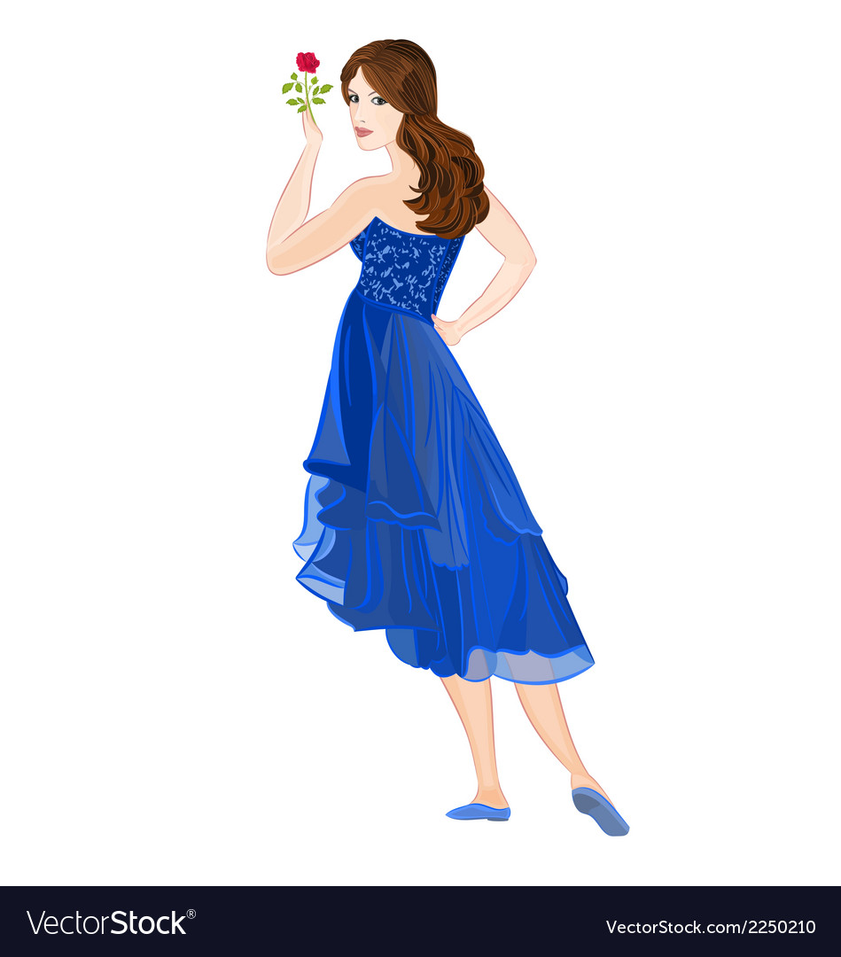 Girl in dark blue formal dress vector