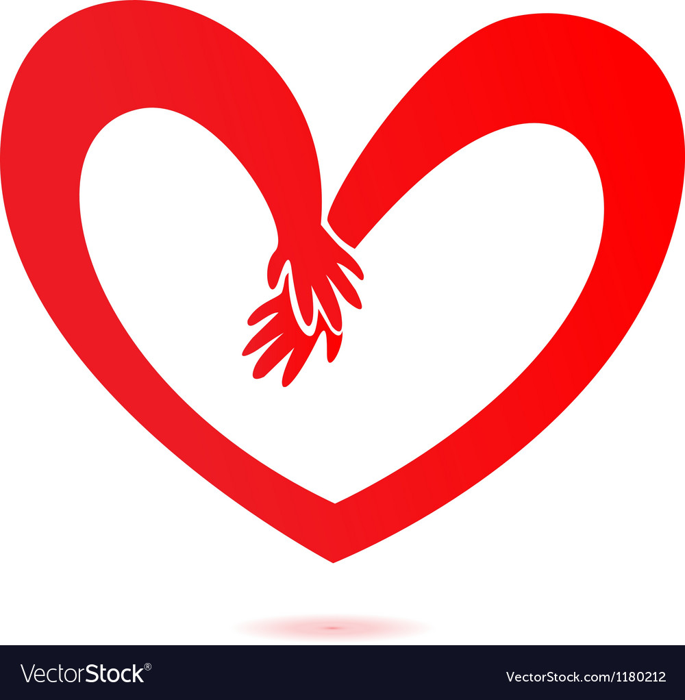 Hands and heart love vector