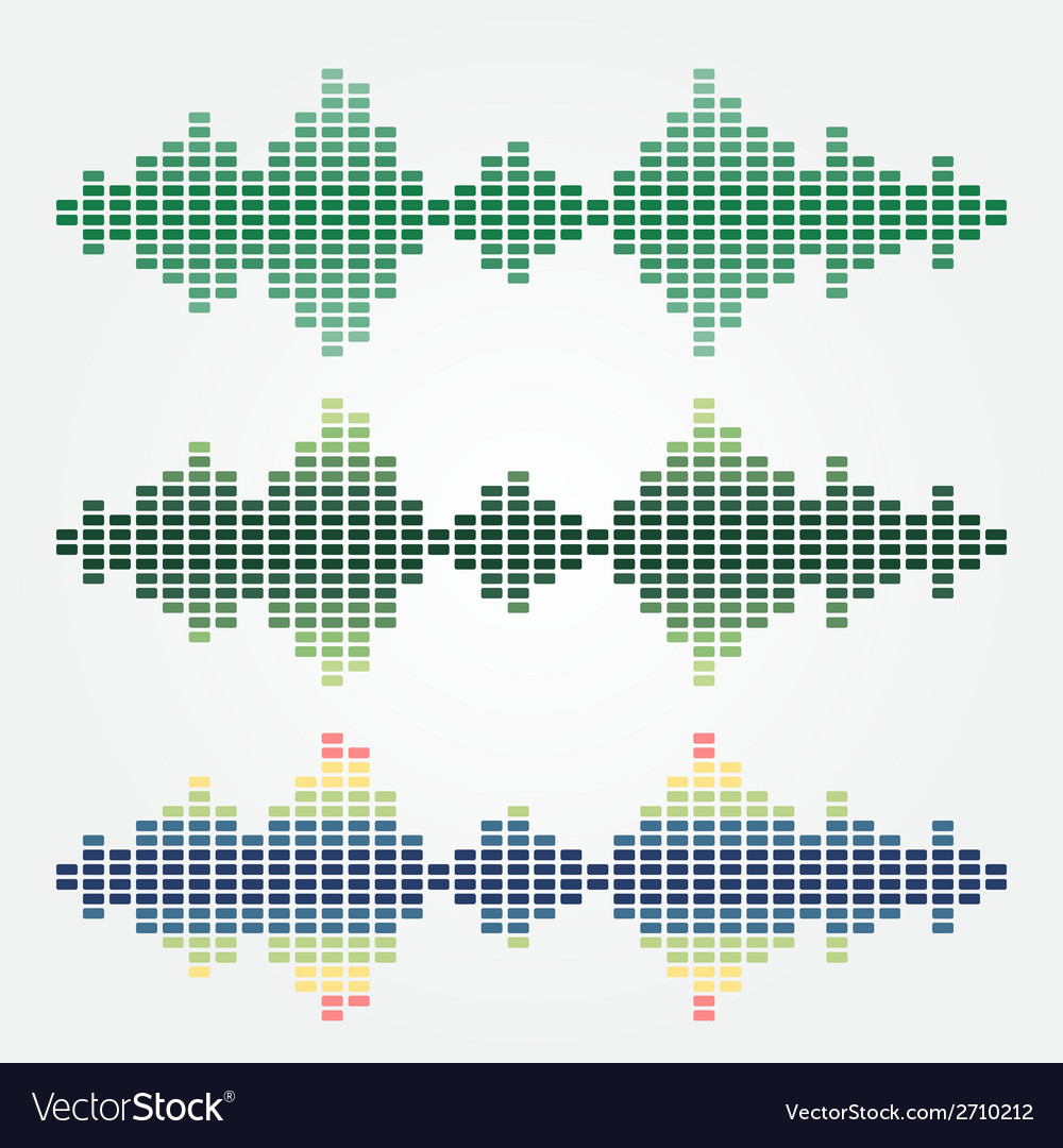 Set of sound waves icons made with cubes vector