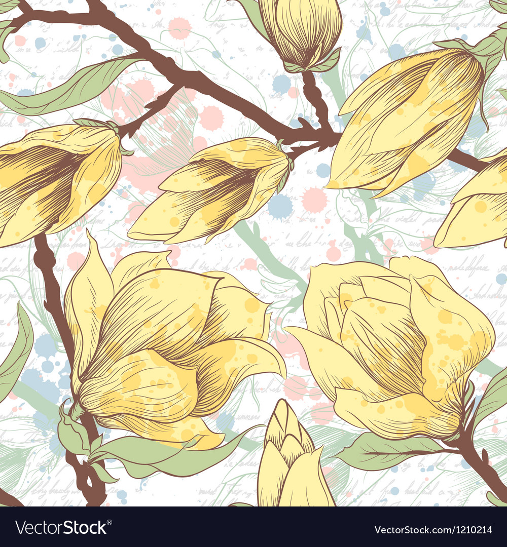 Vintage seamless pattern with magnolia flowers vector
