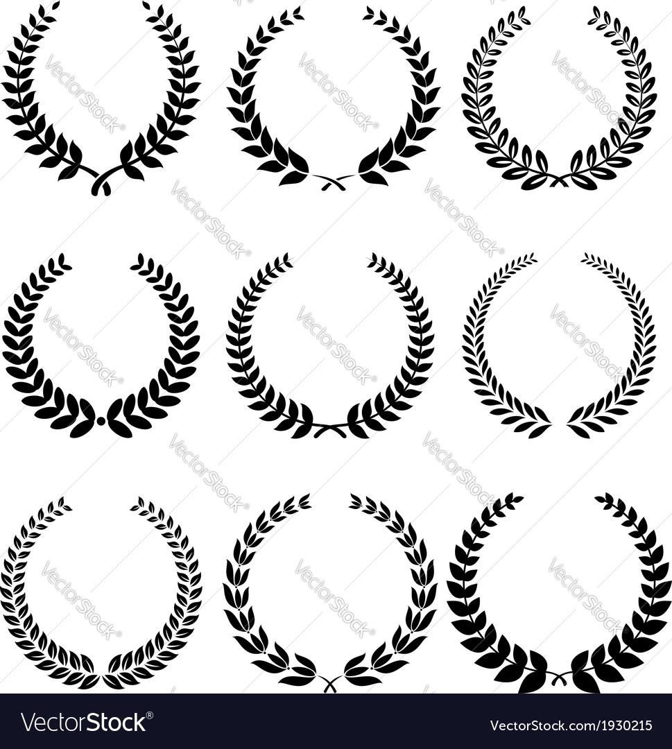 Laurel wreathes set vector