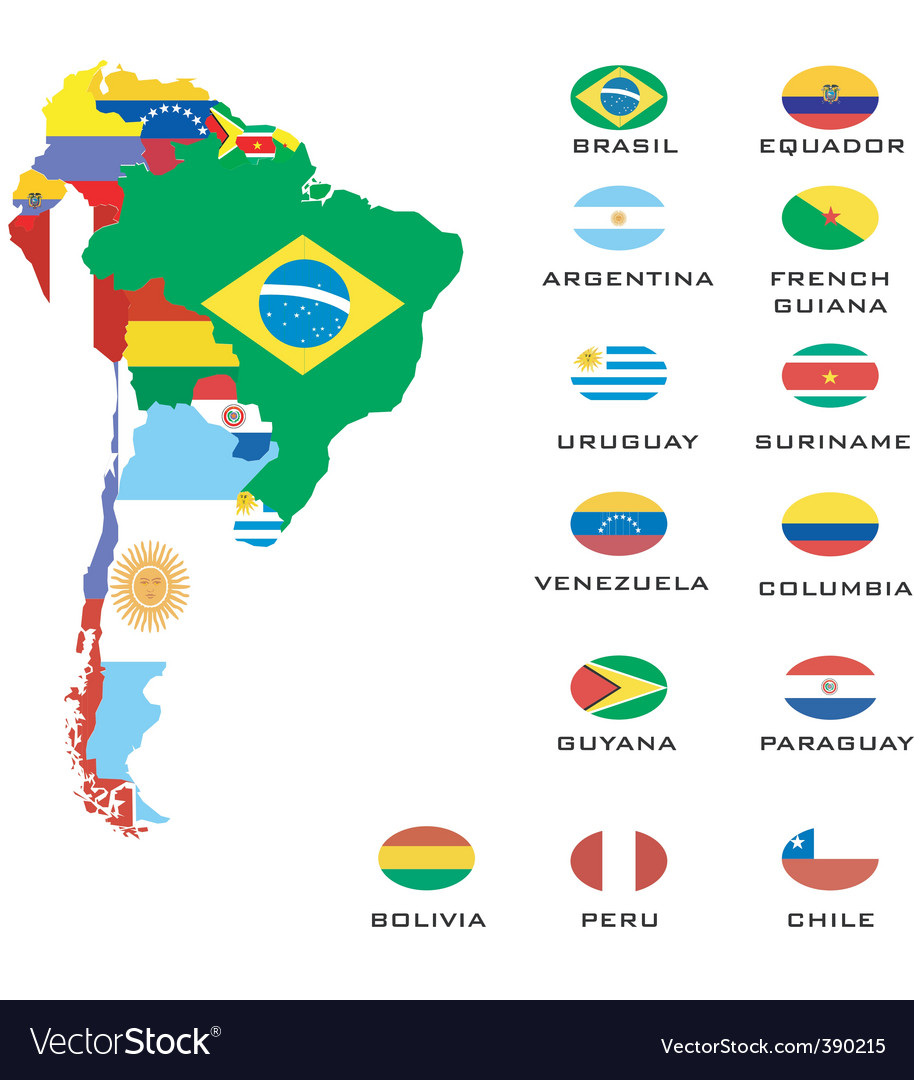 Map of south america vector