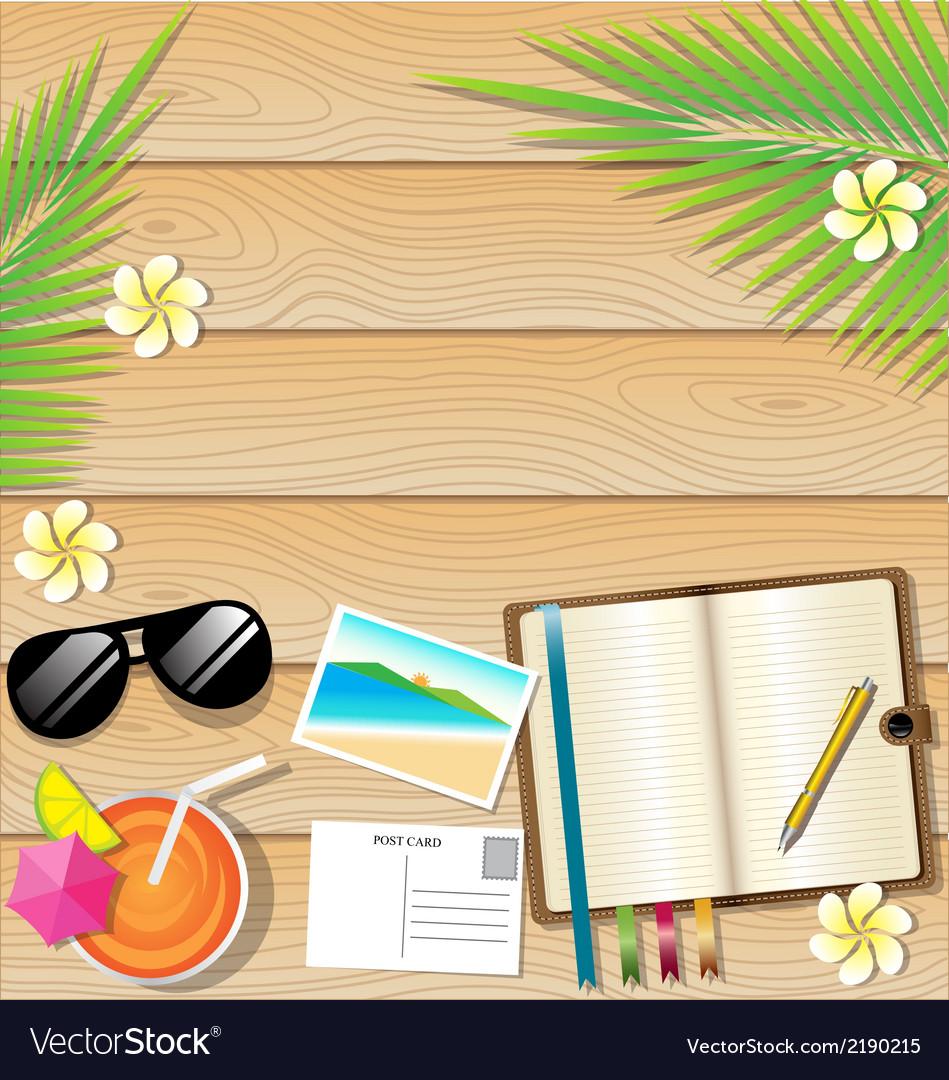 Summer background on wooden plank texture vector