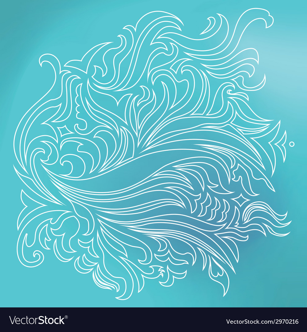 Blue sea ornament vector