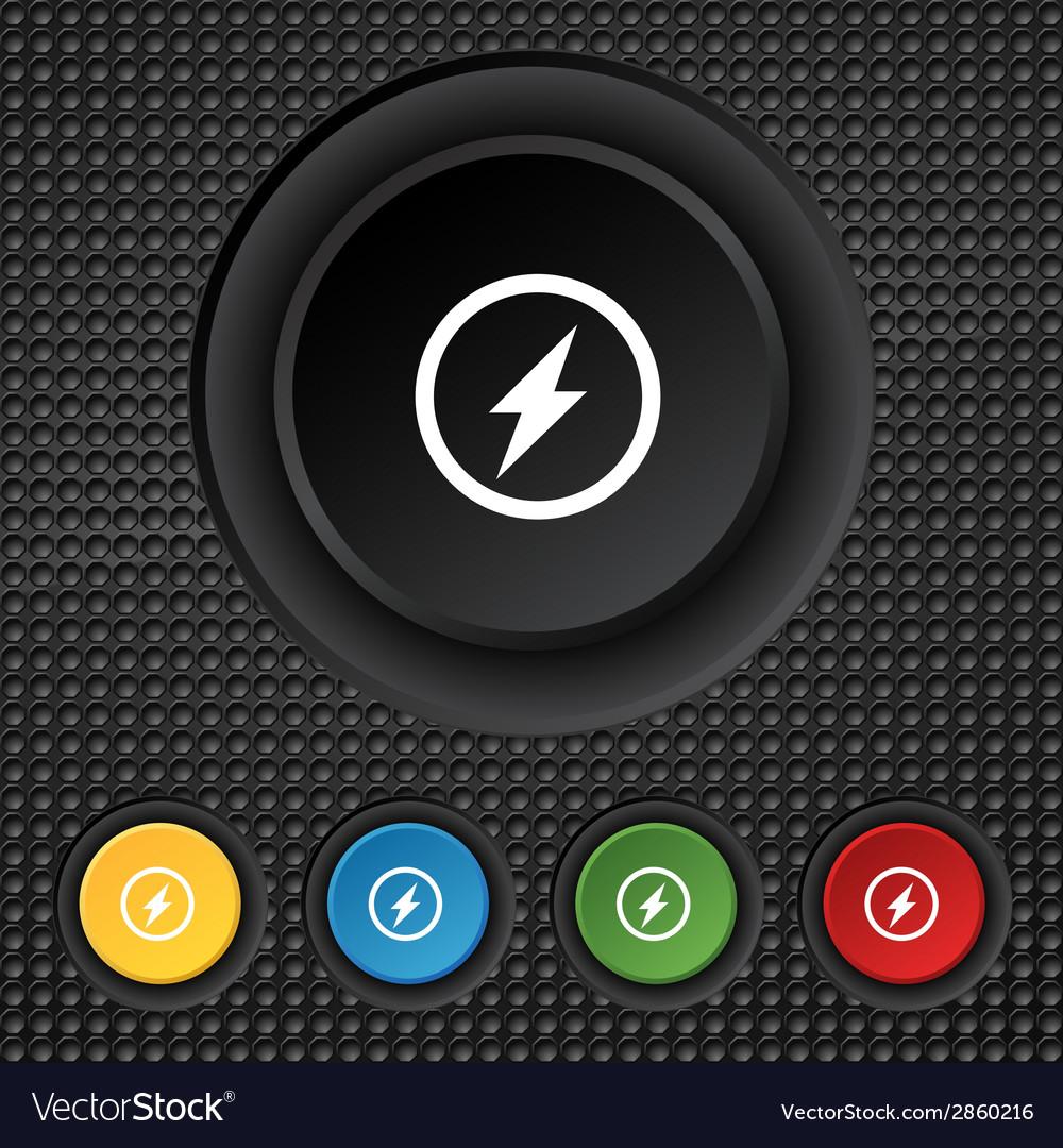 Photo flash sign icon lightning symbol set vector