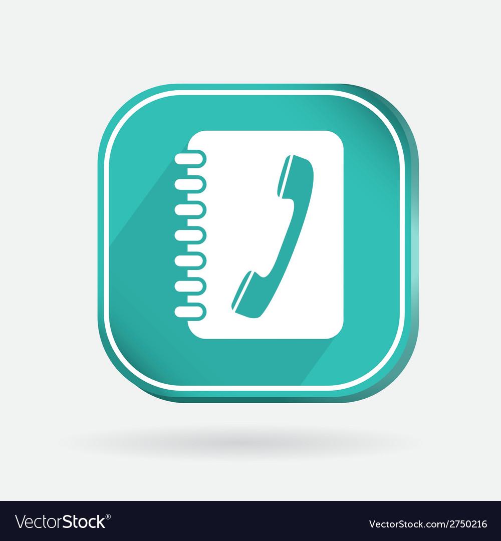 Square icon phone address book vector
