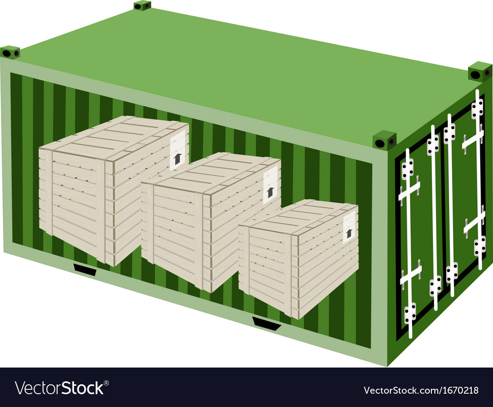 Three wooden crates in a cargo container vector