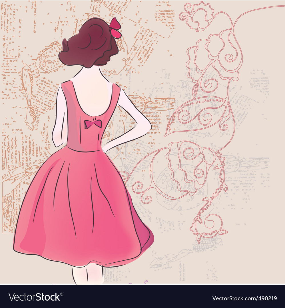 Pink girl vector