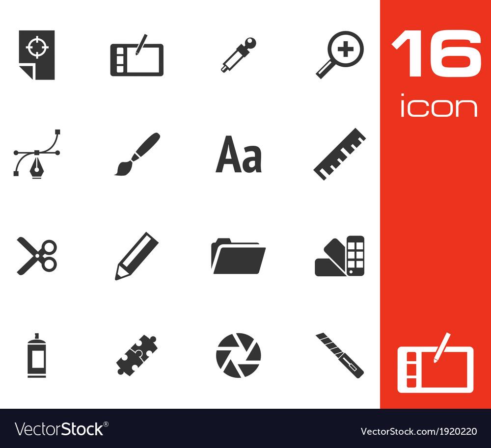 Black graphic design icons set vector
