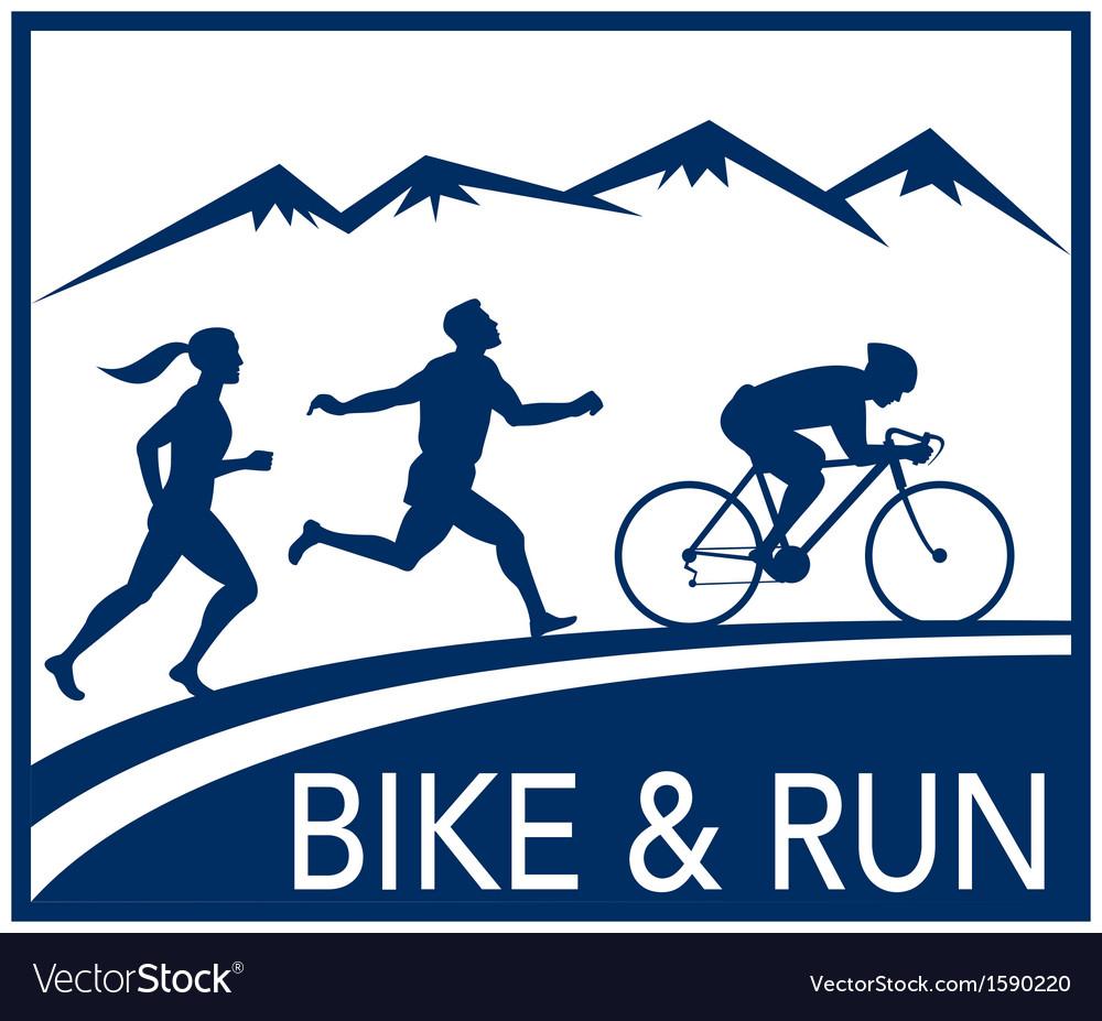 Marathon runner bike cycle run race vector