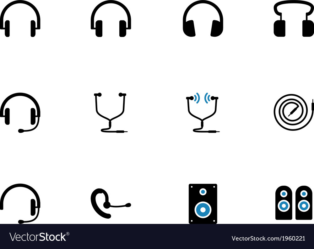 Headphones and speakers duotone icons vector