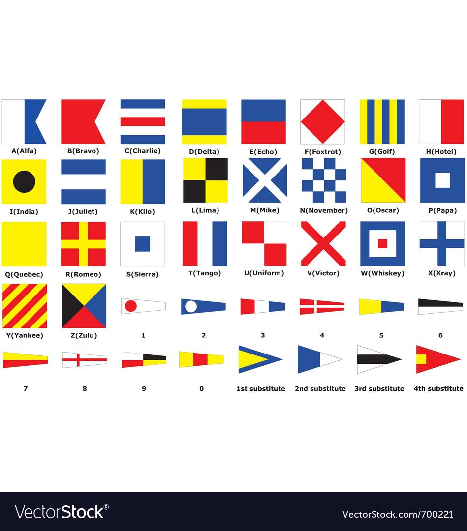 International maritime signal flags vector