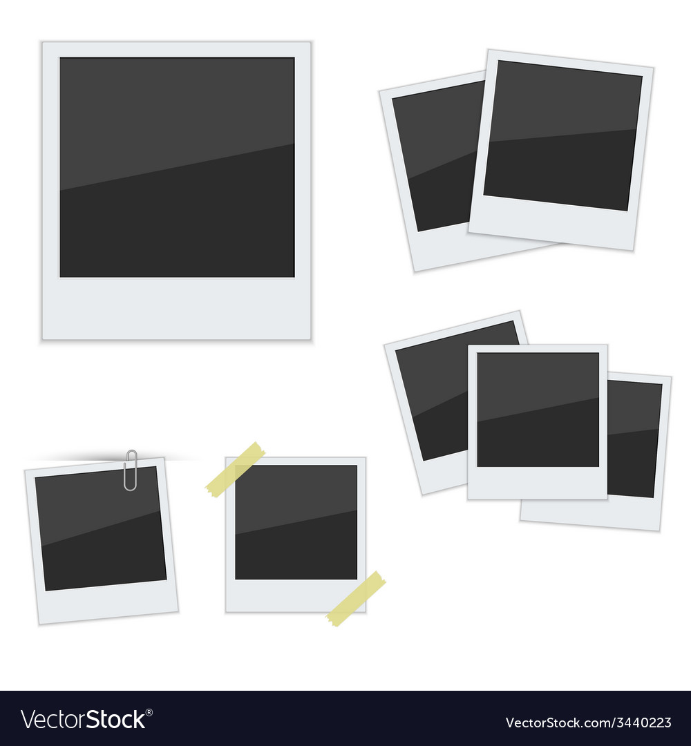 Set polaroid photo frames on white background vector