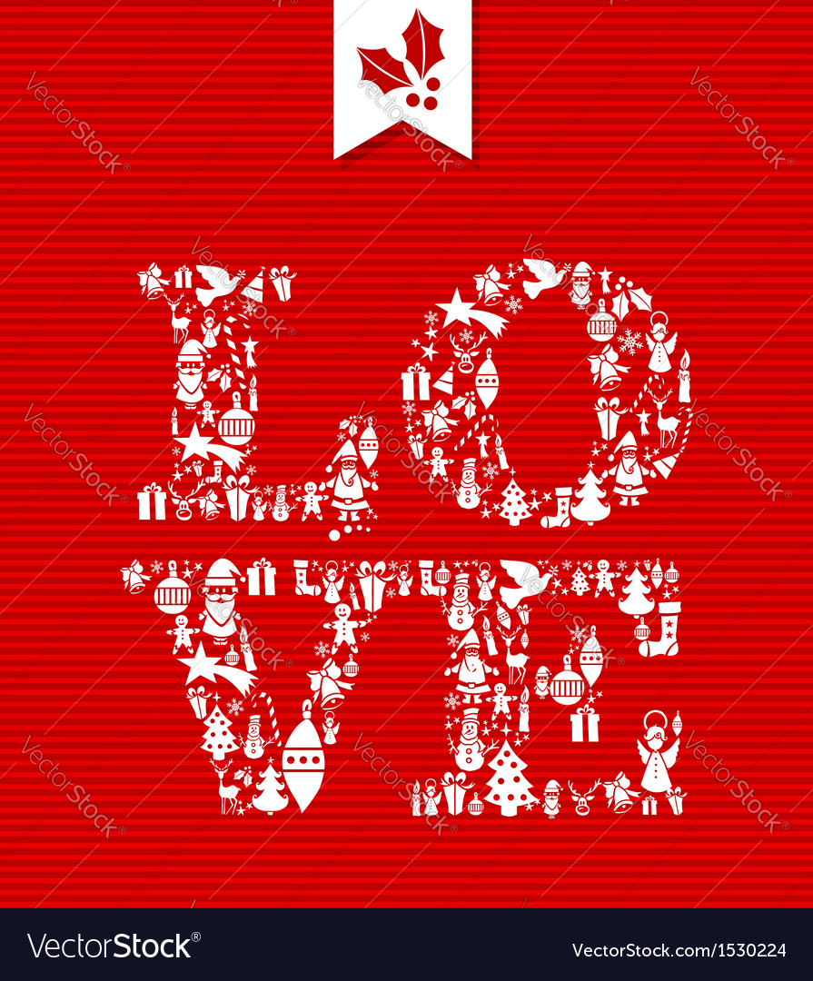 Merry christmas love concept icons vector