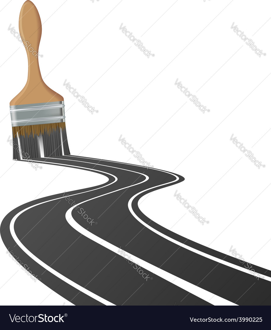 Paint brush draws the road vector