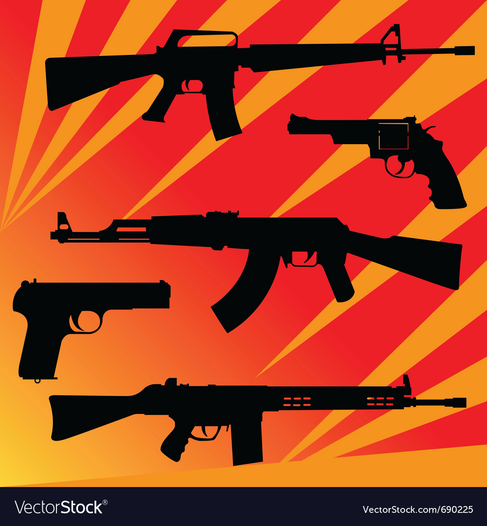 Pistols and submachine gun vector