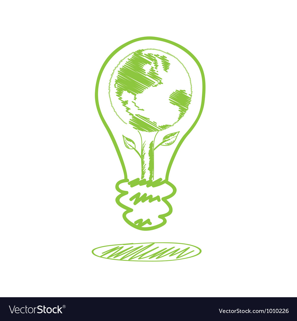 Handwriting sketch earth in the lamp vector