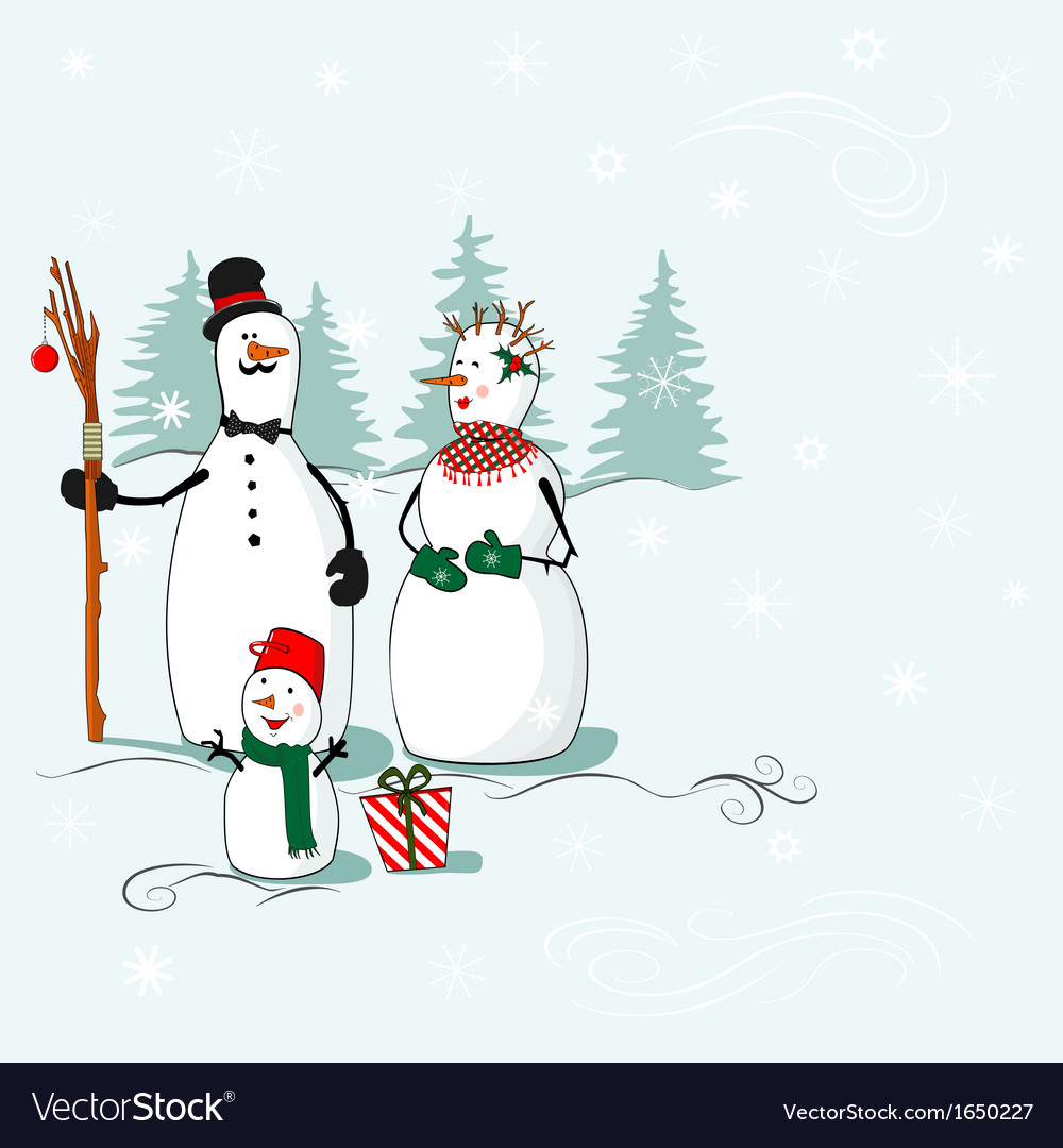 Greeting card with a snowmen vector