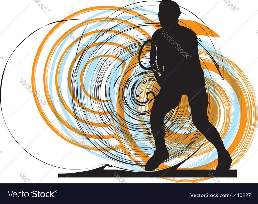 Man playing tennis vector