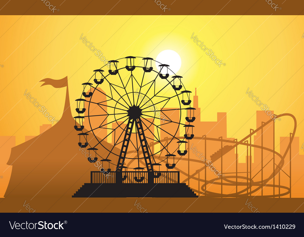 City and amusement park vector