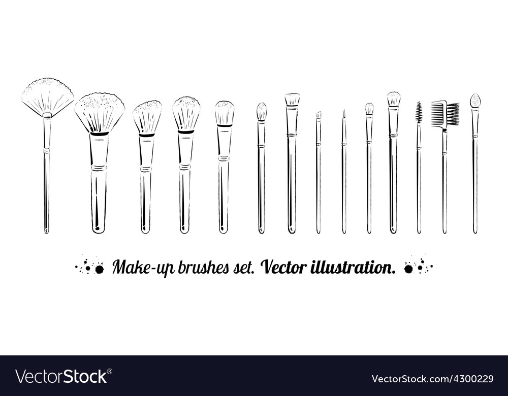 Makeup brushes kit vector