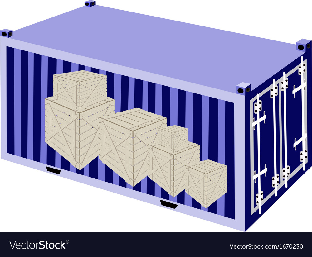 Stack of wooden crates in a cargo container vector