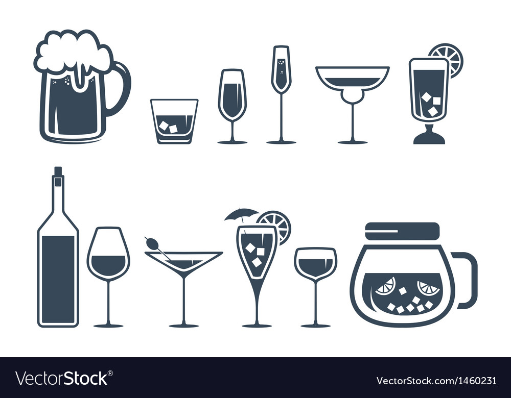 Drink alcohol beverage icons set vector