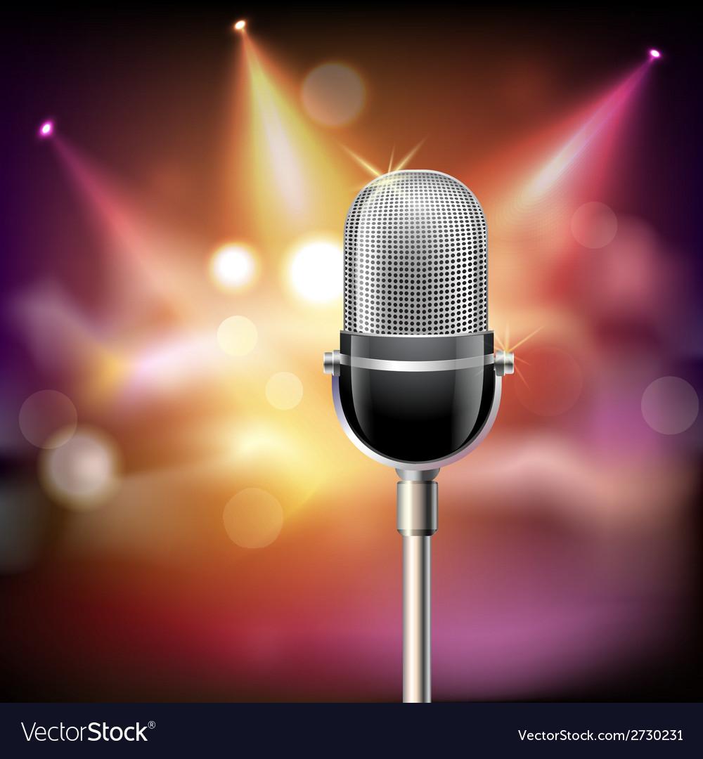 Retro microphone background vector