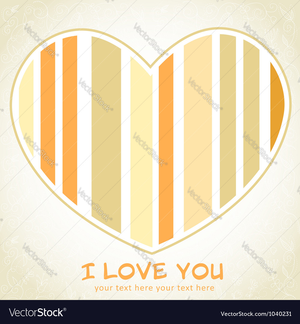 Stripped heart love greeting floral postcard vector