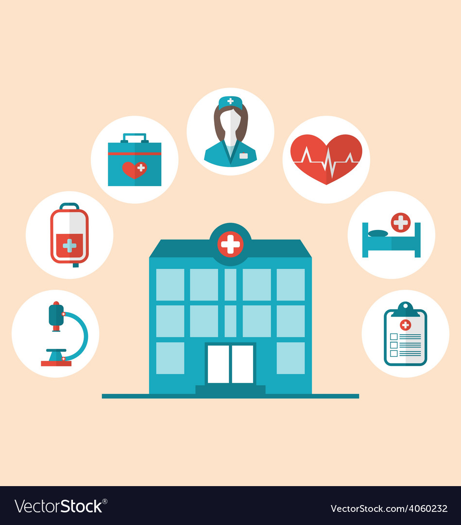 Flat trendy icons of hospital and another medical vector