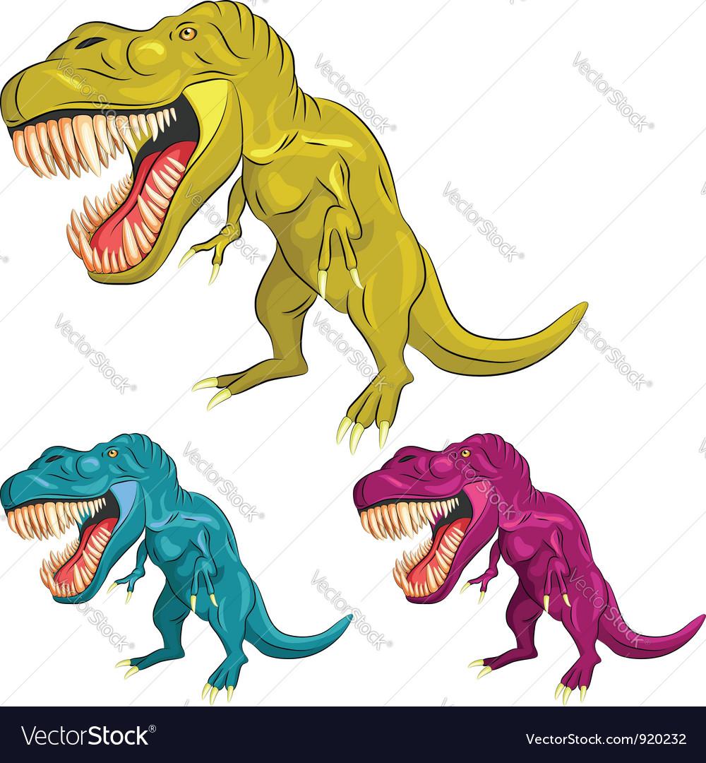 Set of colorful dinosaur tyrannosaurs vector