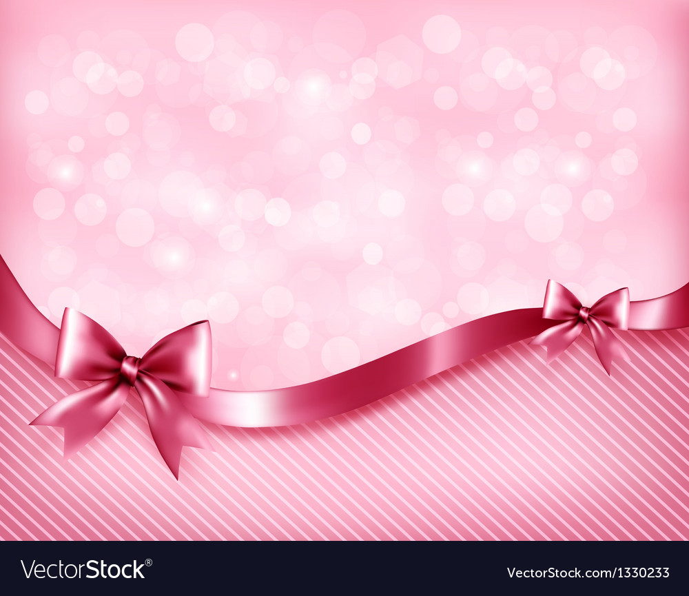 Holiday pink background with gift glossy bows and vector
