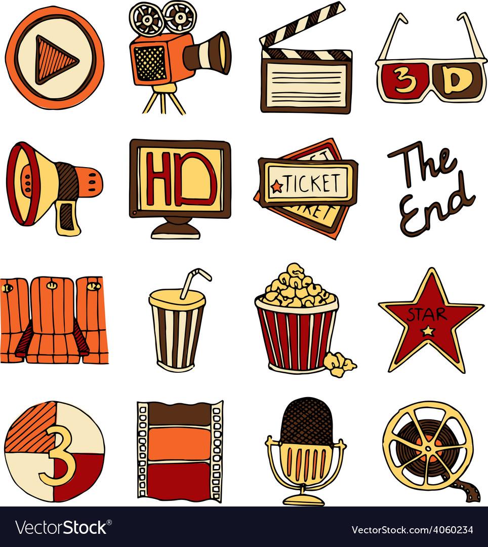 Cinema vintage icons set color vector