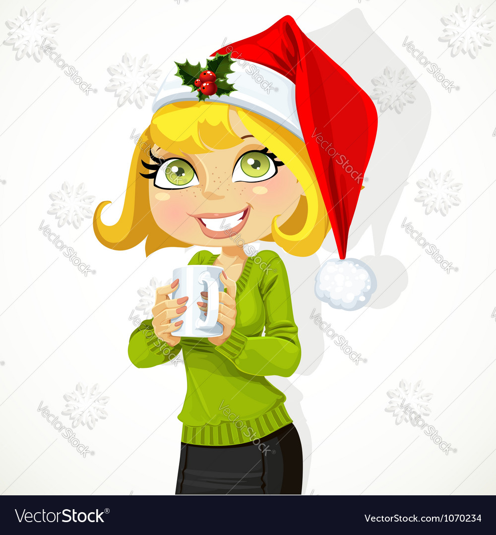 Cute girl in santa hat hold cup of hot drink vector
