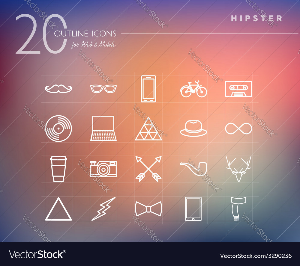 Hipster outline icons set vector