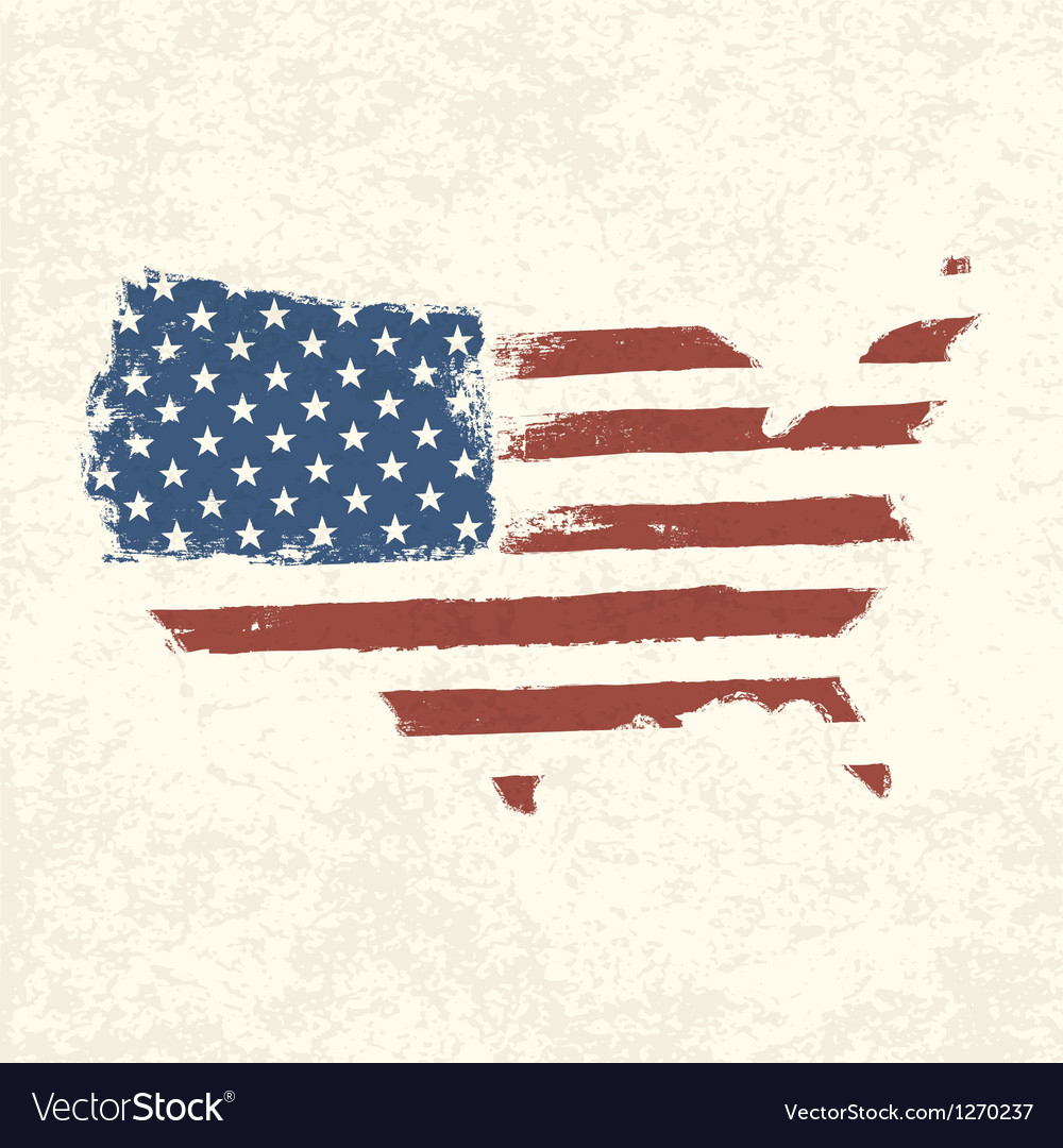 American flag shaped country vector